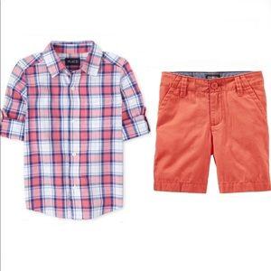 NWT Plaid Poplin Button Down Shirt sz 5/6 + Shorts